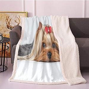 "SeptSonne Yorkie Sherpa Fleece Blanket 40""X50"",Lying Yorkshire Terrier with Ribbon Yorkie Love Portrait of a Dog Digital Printing Blanket,Cozy, All-Season Fuzzy Blanket(Pale Caramel Sand Brown)"