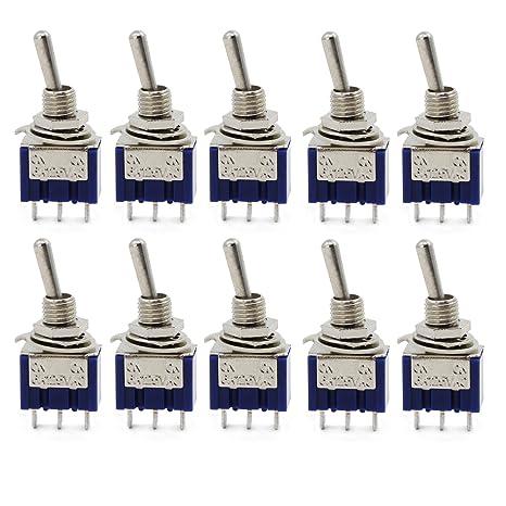Aussel 10 piezas AC 125V 6A ON-ON 3 pines 2 posiciones Mini interruptor de