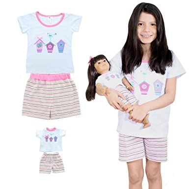 b4662b83dca0 Image Unavailable. Image not available for. Color: Girl and Doll Matching  Outfit Clothes - Pajama Nightgown Set ...
