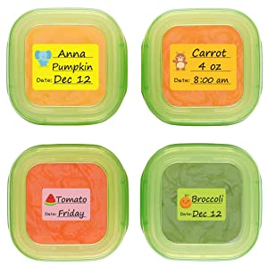 Baby Food Labels, Removable Write-On Date Labels for Food Storage Containers & Baby Bottles, Great for Daycare, Pack of 90