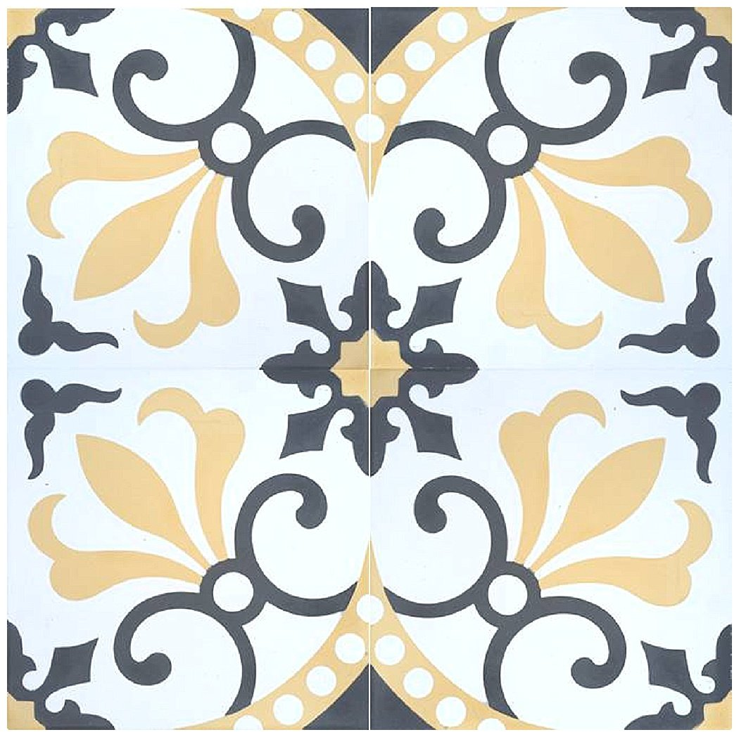 Rustico Tile and Stone RTS16 Thames Cement Pack of 13, 8'' x 8, Gray/Gold/White