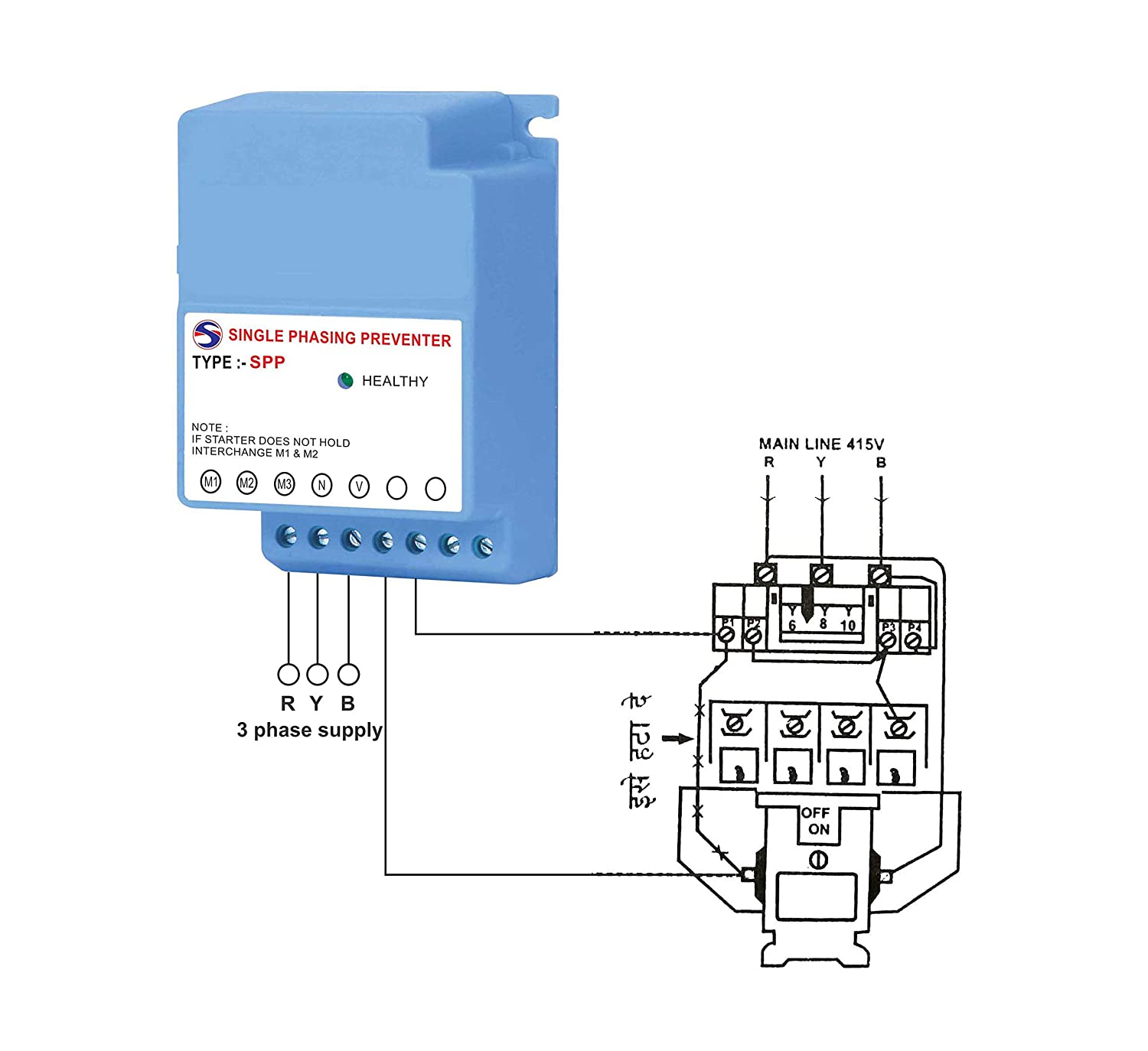 Buy Spp Single Phasing Preventer For Three Phase Panel Online At Low 3 Motor Reversing Switch Wiring Diagram Free Picture Prices In India