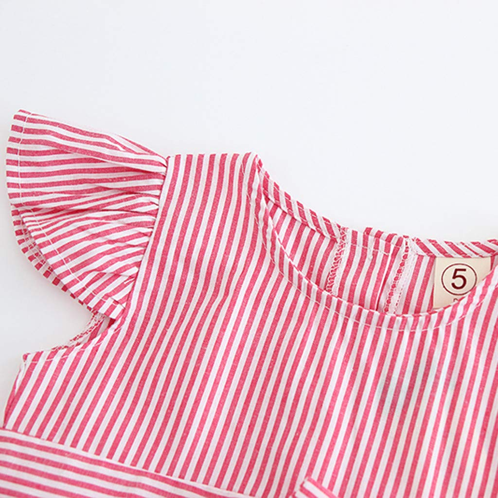 Womola Toddler Baby Girls Ruffle Hort-Sleeved Striped Bowknot Blouse Tube Top+Shorts Outfit