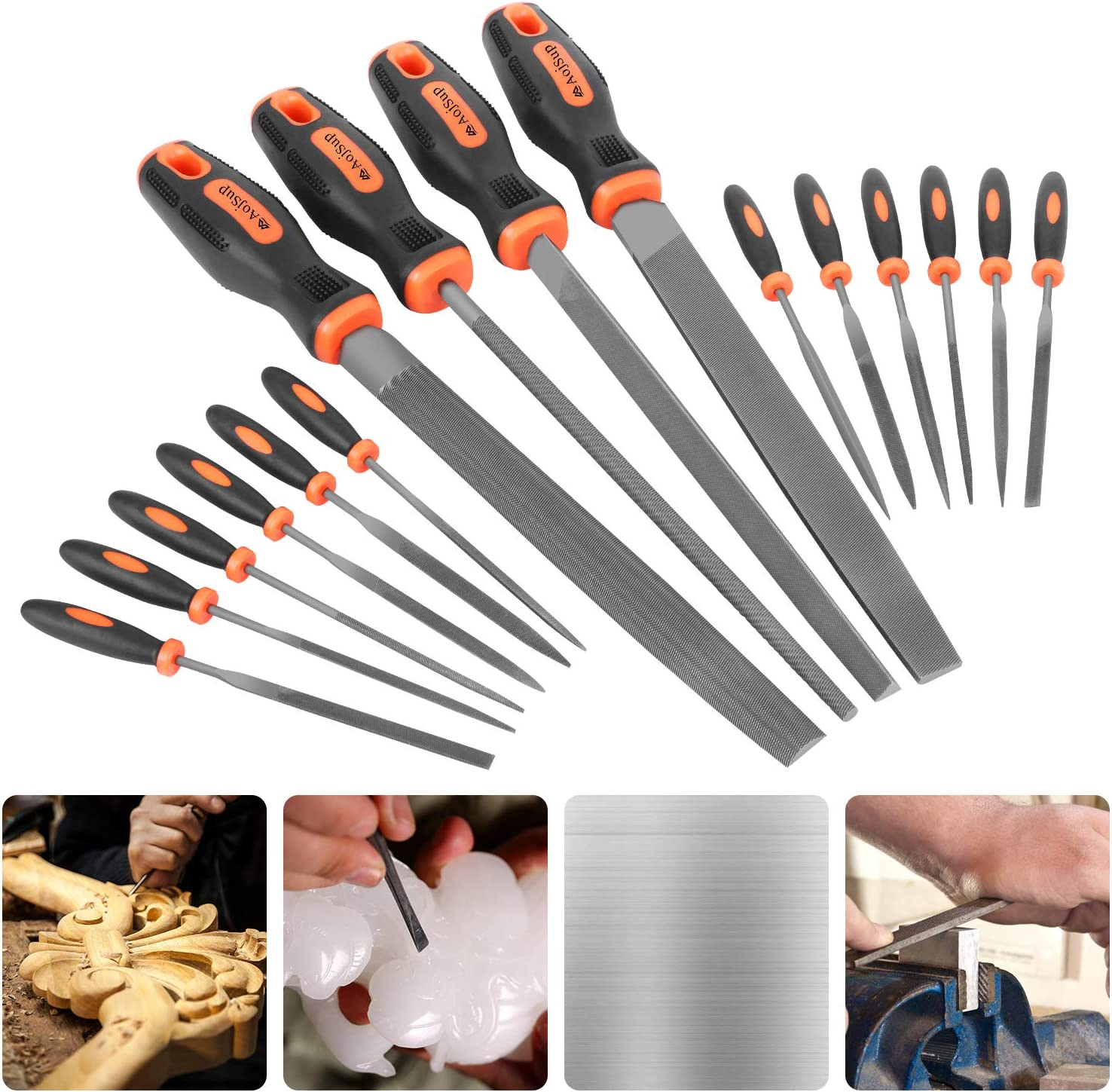 Jewelry DIY Projects Great for Metal Models 4PCS T12 Alloy Steel Hand File Set Flat//Triangle//Half-Round//Round File,12 x Needle File Set and ONE Scrath Brush Glass Wood AojSup 17PCS File Set