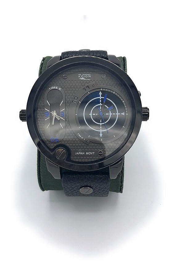 Avion Reloj Hombre de Pulsera de Cuarzo con Esfera con Gran Digital y Analógico aeronáutica Militar táctico Gris: Amazon.es: Relojes