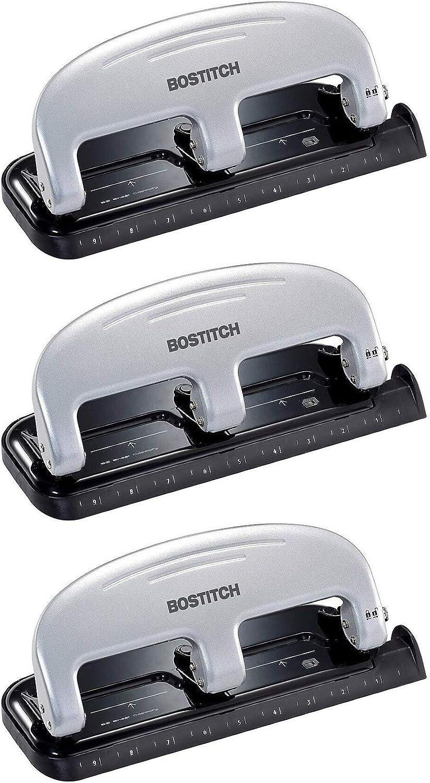 Silver - 3 Pack Black Bostitch inPRESS 20 Reduced Effort Three-Hole Punch 2220