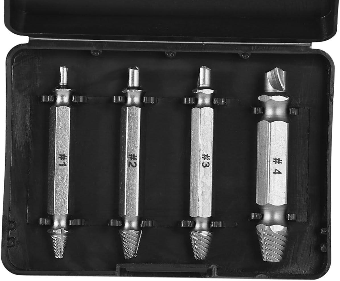 Extractoresx4 de Tornillos Dañados, Juego de Extractores Taladro de Bielas de Tornillos Rotos de Acero Inoxidable con Brocas Cajas para destornilladores
