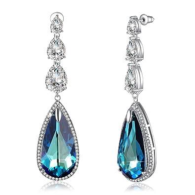 8962af129 Amazon.com: Crystal Earrings For Women PLATO H Love Teardrop ...
