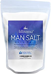 Man Bath Salt 40 Ounces Mediterranean Sea Salt with Lavender, Frankincense, and Eucalyptus Essential Oils, High-Quality Natural Bath for Men