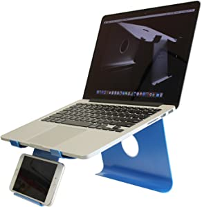 DiiZiGN The Best Laptop Stand with Smart Phone Holder (Model-N, Blue)