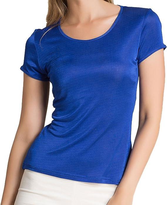 Paradise Silk Camiseta de manga corta de cuello redondo de seda pura para mujer
