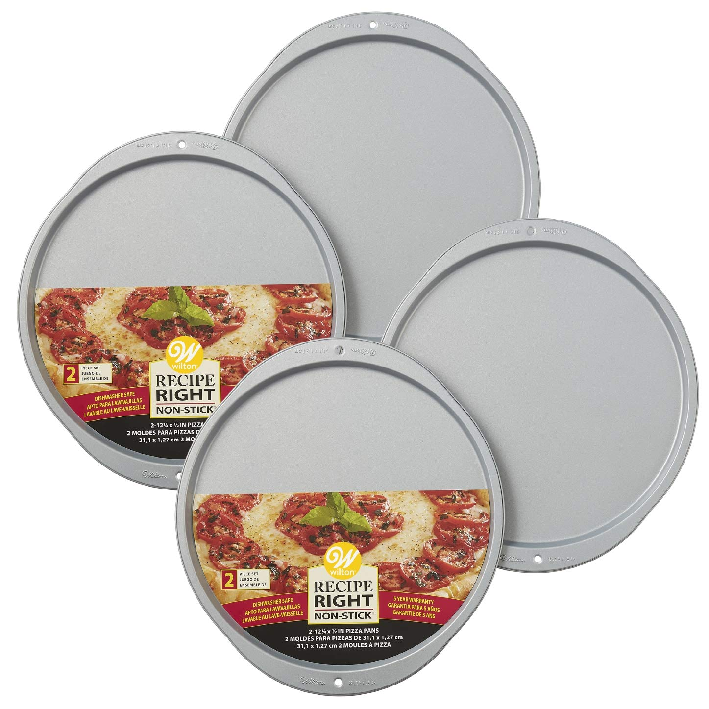 Amazon.com: Wilton Recipe Right Non-Stick 12-Inch Pizza Pans Set, Multipack of 2: Kitchen & Dining