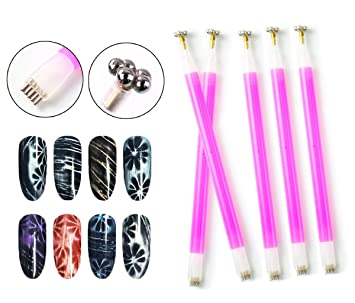 Mezerdoo 5pcs Flower Nail Art Magnet Pen For Diy Magic 3d Magnetic