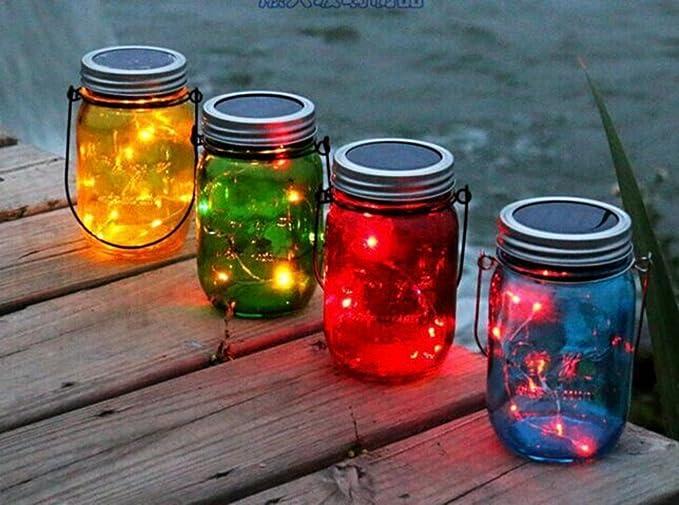 Lampada Barattolo Vetro : Colore della lampada barattolo di vetro con decorazione led solare