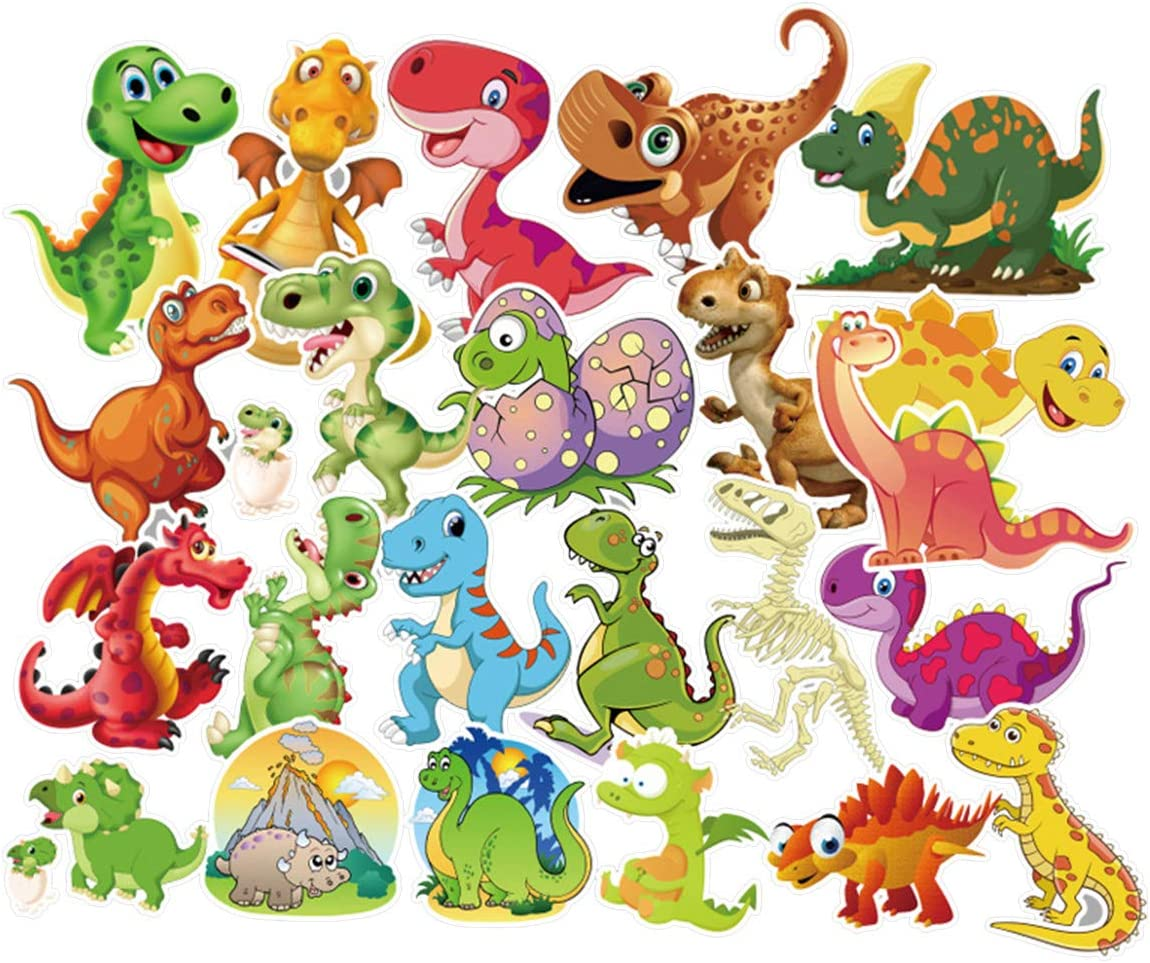 Meet Holiday Dinosaur Sticker 50 PCS PVC Waterproof Stickers for Laptop, Notebooks, Car, Bicycle, Skateboards, Luggage Decoration