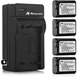 Powerextra Battery (4-Pack) and Charger for Sony NP-FW50 and Sony Alpha a6500, Alpha a6300, Alpha a6000, Alpha a7 II, Alpha a7R II, Alpha a7S II, Alpha a5000, Alpha a5100 Digital Camera