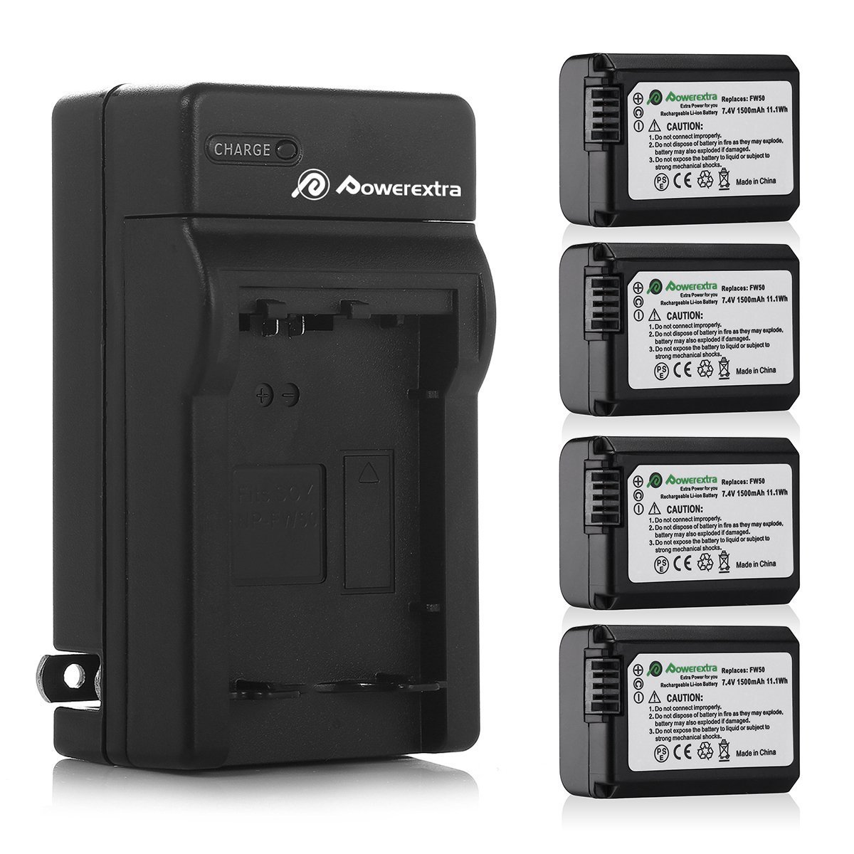 Powerextra Battery (4-Pack) and Charger for Sony NP-FW50 and Sony Alpha a6500, Alpha a6300, Alpha a6000, Alpha a7 II, Alpha a7R II, Alpha a7S II, Alpha a5000, Alpha a5100 Digital Camera by Powerextra