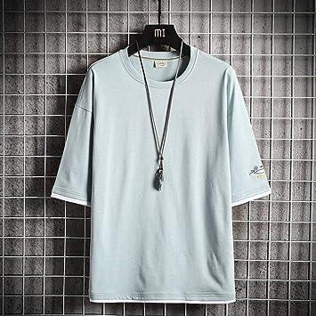 Good dress Camiseta de Hombre Camiseta Deportiva de Manga Corta Ropa Casual Japonesa de Algodón de Manga Corta Camiseta de Cuello Redondo de Dos Piezas Falsas Accesorios de Ropalago azul, XXL: Amazon.es: