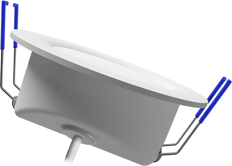 linovum WEEVO 6 Stück dimmbare Bad LED Einbauleuchten IP44-6,5W warmweiß - runde Deckenspots 230V mit flachem Einbau 29mm 6 Stück - Warmweiß