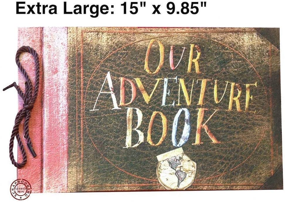 LINKEDWIN Our Adventure Book Scrapbook Album 15 x 9.85 Inch Light Brown Pages