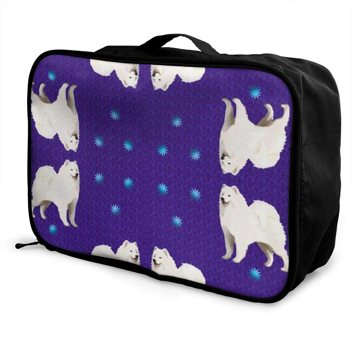 ADGAI Samoyed Purple with Stars Canvas Travel Weekender Bag,Fashion Custom Lightweight Large Capacity Portable Luggage Bag,Suitcase Trolley Bag