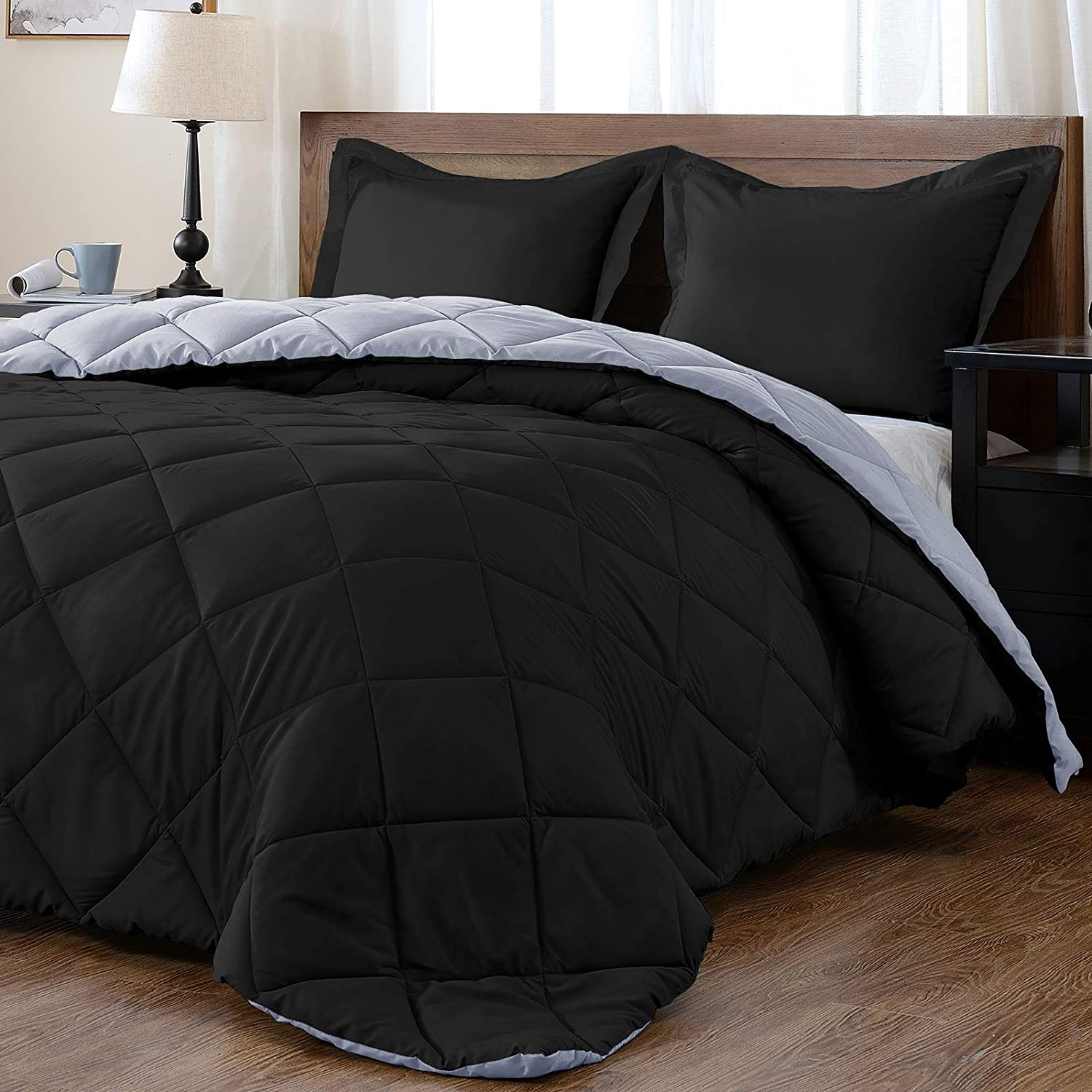 Downluxe Lightweight Solid Comforter Set Twin With 1 Pillow Sham 2 Piece Set Black And Grey Down Alternative Reversible Comforter Home Kitchen