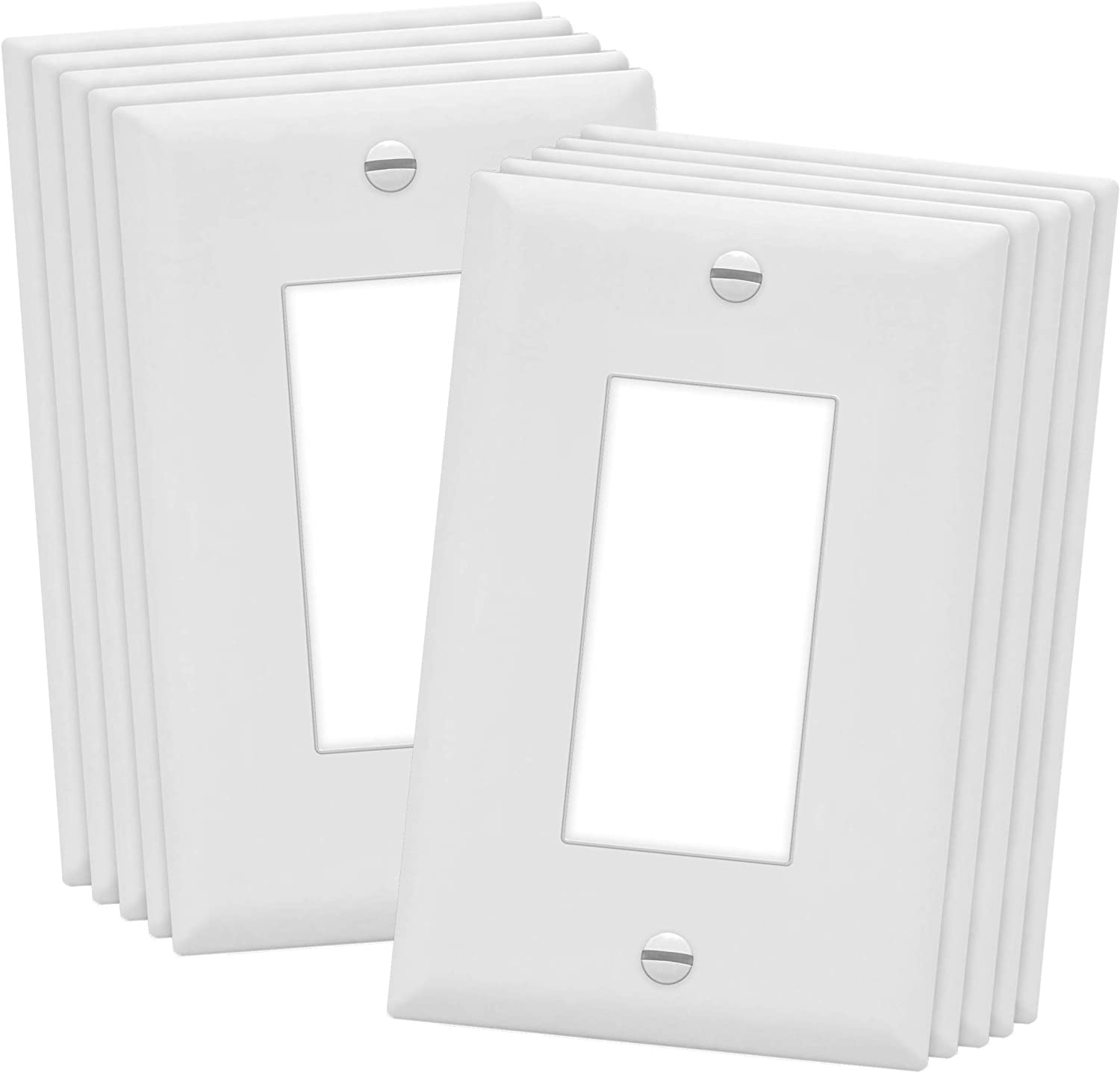 "ENERLITES Decorator Light Switch or Receptacle Outlet Wall Plate, Midway Size 1-Gang 4.88"" x 3.11"", Polycarbonate Thermoplastic, UL Listed, 8831M-W-10PCS, White (10 Pack)"
