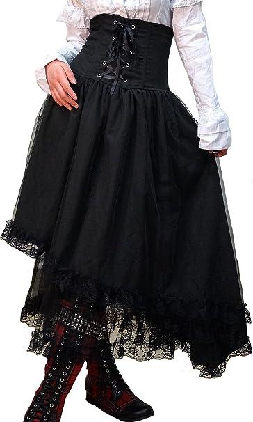 Hippies (ヒッピーズ) レディース ゴスロリ V系 ドレス ハイウエスト コルセット アシンメトリ スカート ブラック 7701