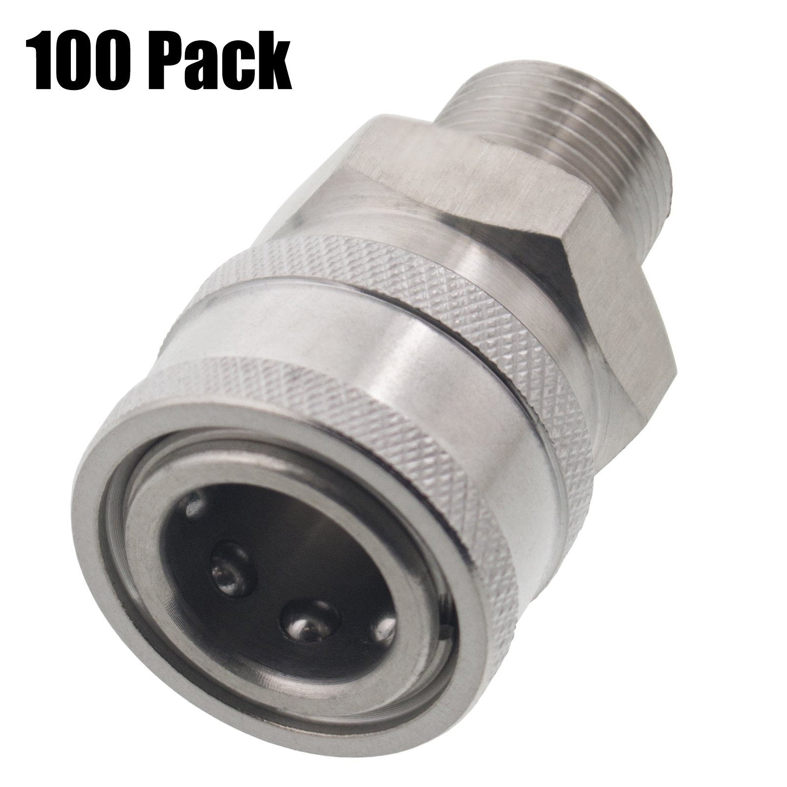 100 Pack of Erie Tools 3/8'' MPT Male Stainless Steel Socket Quick Connect Coupler 5000 PSI 10 GPM for Pressure Washer Nozzle Gun Hose Wand by Erie Tools (Image #1)