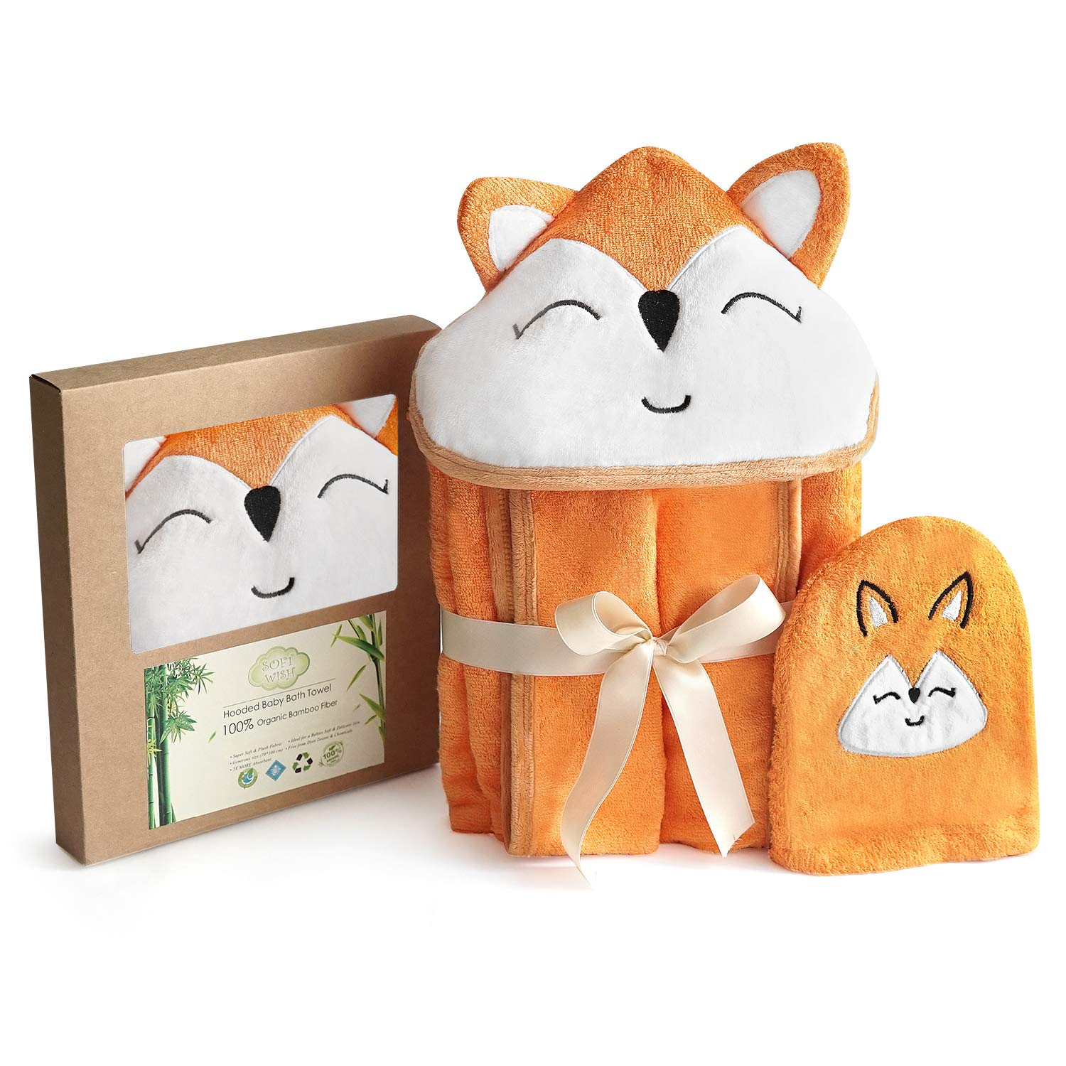 Fox Style Bamboo Baby Hooded Bath Towel & Washing Glove Set - Size 40x28'', Soft and Comfortable, Ultra Absorbent, 100% Natural - Perfect Gift for Baby by Soft Wish