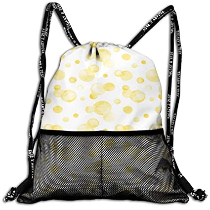 Unisex Drawstring Backpack Yellow Watercolor Circle Casual Portable Sports Gym Bag Travel Storage Bag Drawstring Bags Accessories