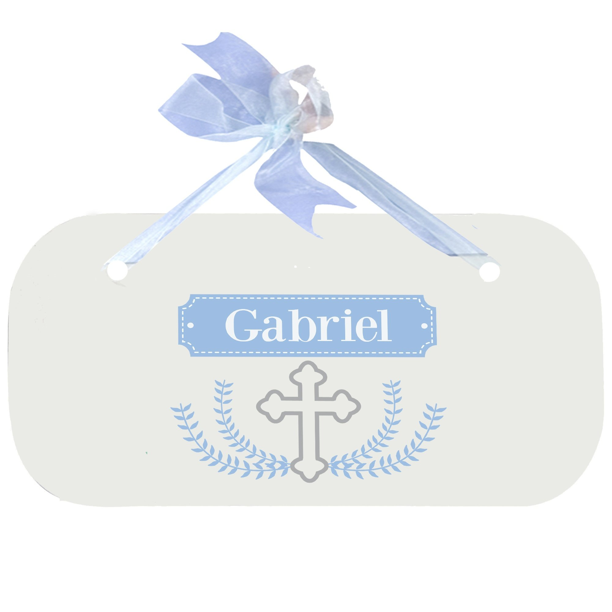 Personalized Cross Garland Light blue Wooden Door Hanger With Blue Ribbon