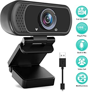 Computer Camera, Full HD 1080P USB Webcam with Mic for Desktop Laptop PC Mac Video Calling Recording Online Teaching Business Conference Live Streaming 110-Degree Widescreen Web Camera
