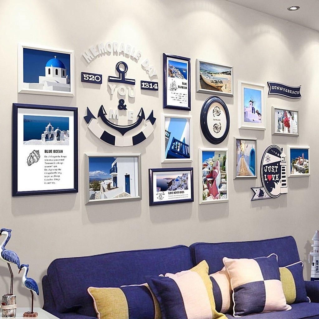 LQQGXL Modern minimalist wood photo wall combination creative decoration photo wall living room bedroom photo wall Photo frame ( Color : Navy blue )