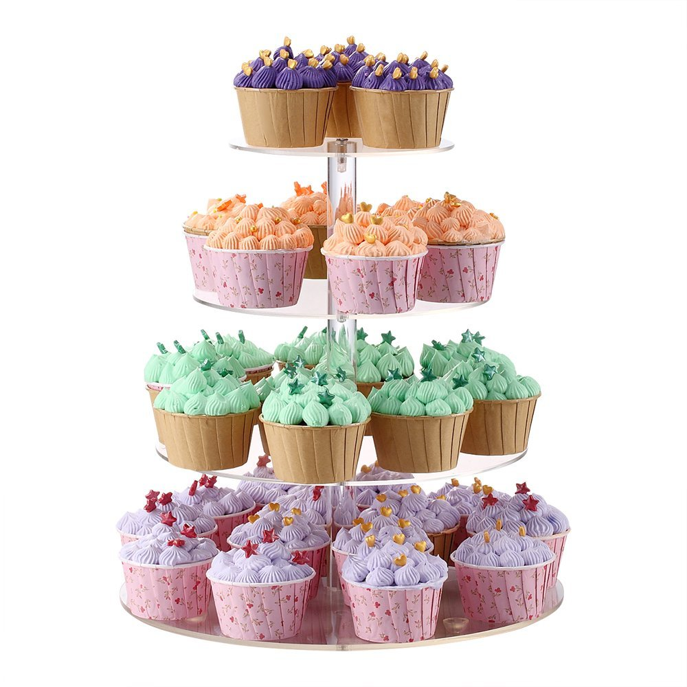 Sumerflos 4 Tier Round Cupcake Stand Clear Acrylic Cake Tree Tower