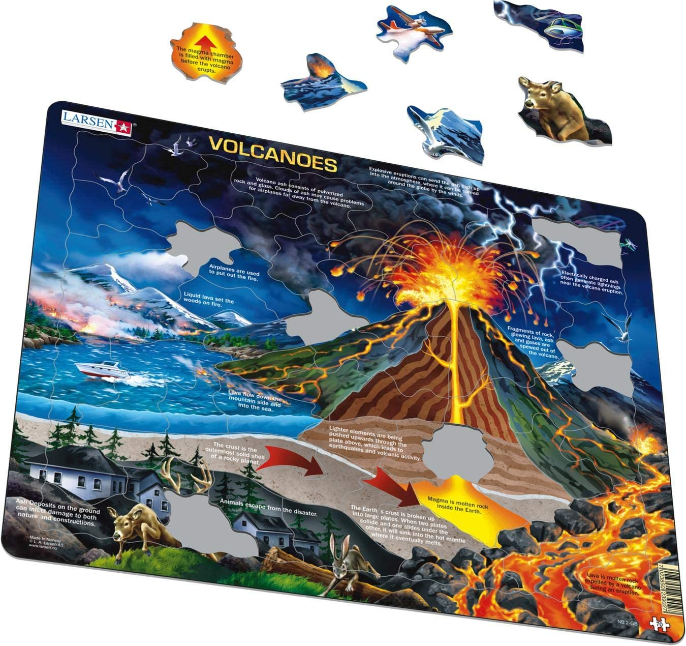 Imported from Norway 70 Piece Tray /& Frame Style Puzzle Larsen Puzzles Volcanoes Educational Jigsaw Puzzle Exclusive Premium Hand Made Puzzles