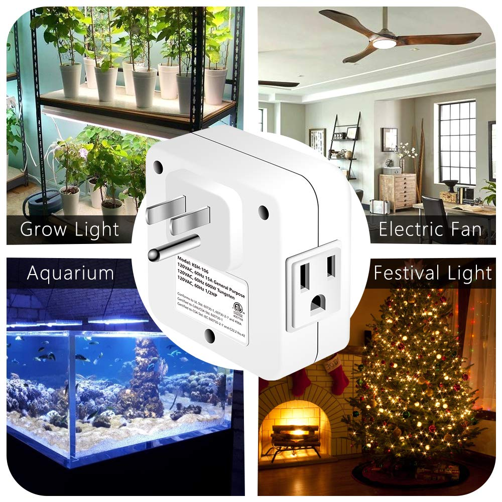 Lights 7 Days Heavy Duty Programmable Light Timer; Indoor Use; ETL Listed with 2 AC Plug Capacity for Electrical Outlets White Lamps Kasonic Digital Timer Outlet