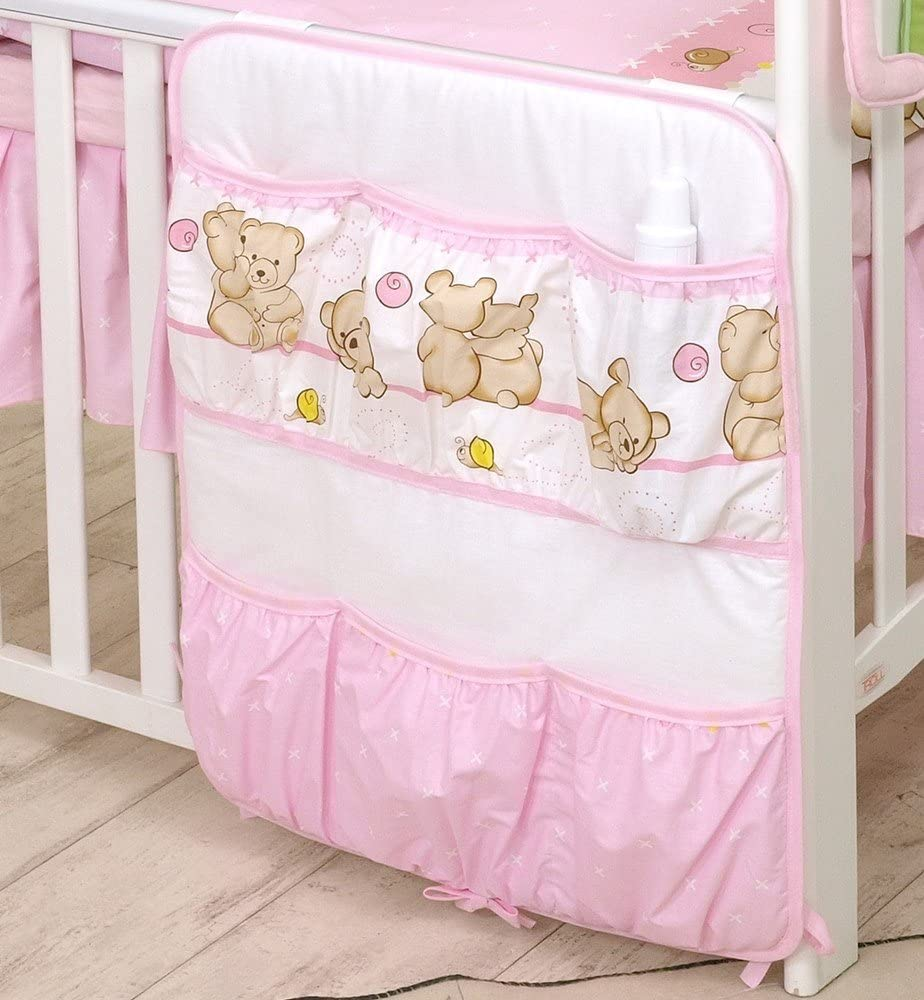 OR COT Bed with Organiser 11 PCS PRO COSMO Bedding Set for COT 140x70cm, Teddies Grey