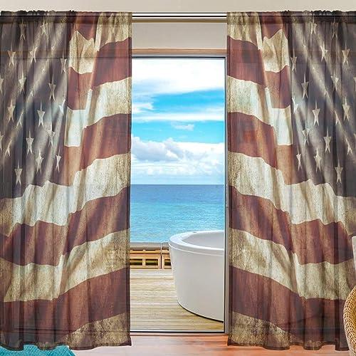 MAHU Sheer Curtains Vintage American Flag Window Voile Curtain Drapes