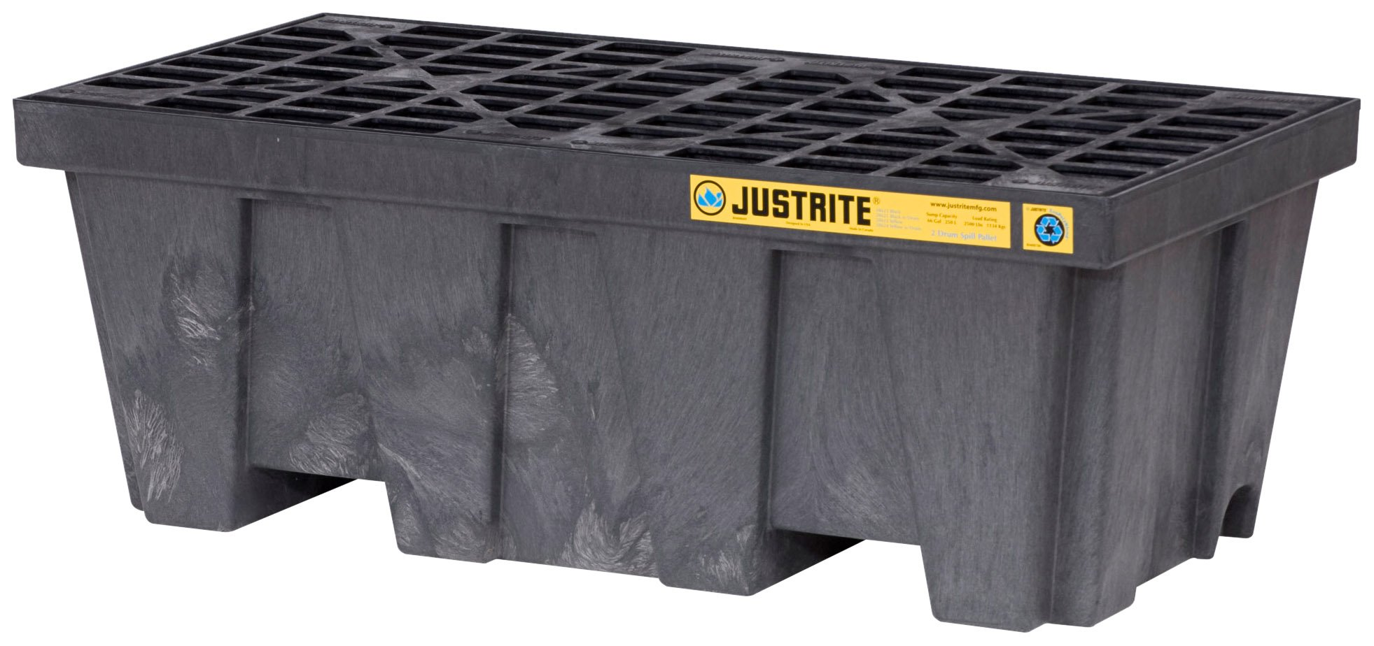 Justrite 28625 EcoPolyBlend 66 Gallon Sump Capacity, 49'' x 25'' x 18'' (LXWXH) Black 2 Drum Pallet With Drain