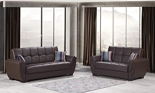 Best living room sofa: Ottomanson Sb 36 ' X 92 38 Air Brown Leatherette Upholstery Sleeper Sofabed