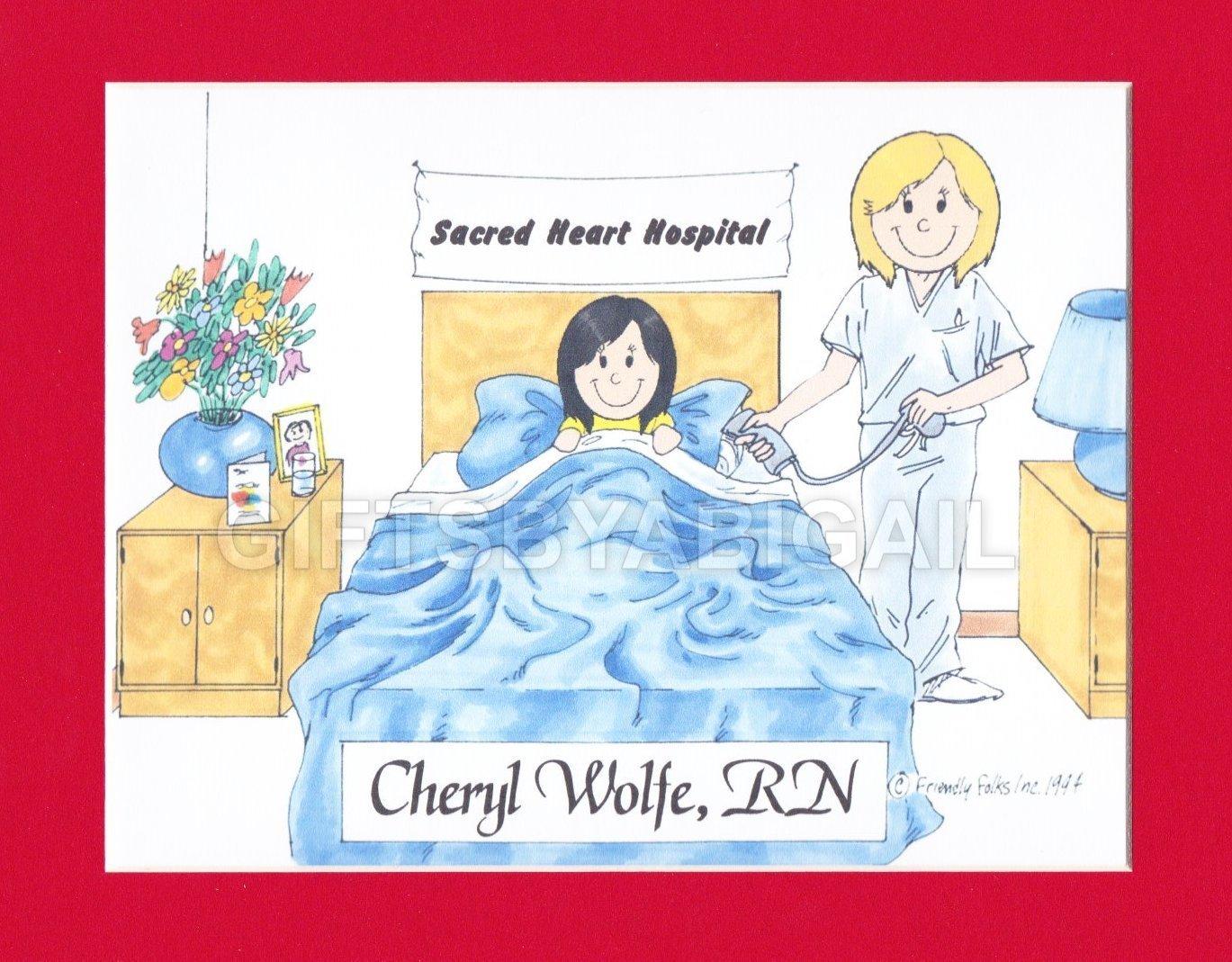 Nurse Gift Personalized Custom Cartoon Print 8x10, 9x12 Magnet or Keychain
