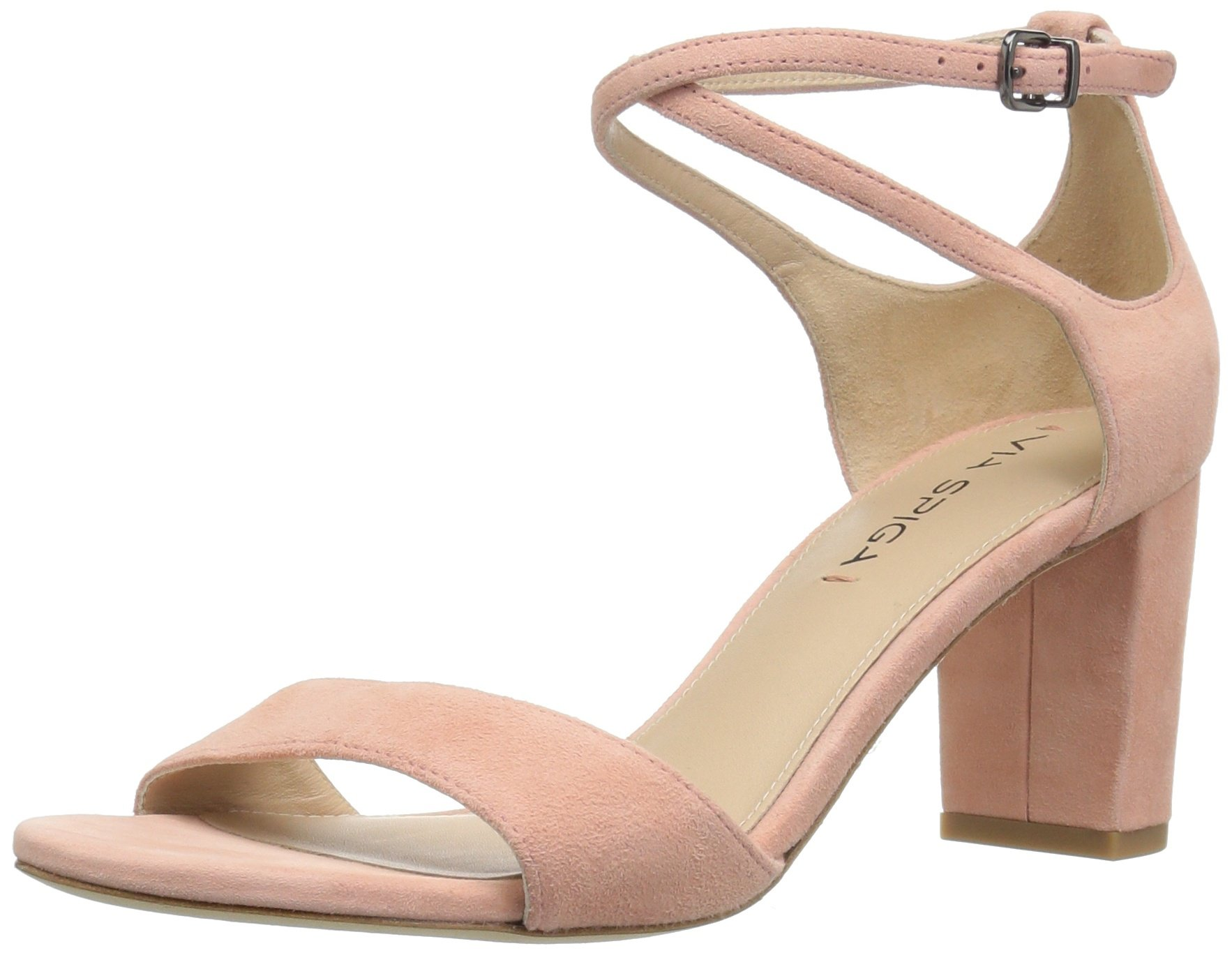 Via Spiga Women's Wendi Block Heel Dress Sandal, Salmon Suede, 8.5 M US by Via Spiga