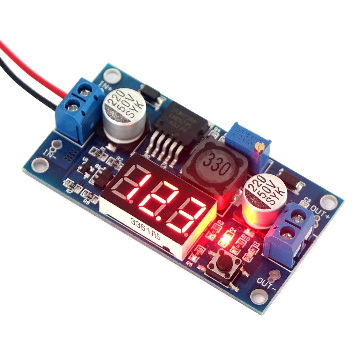 Drok Micro Led Dc Digital Boost Voltage Converter Lm2577 3 34v To 300v Variable High Power Supply Circuit Schematic 4 35v 5v 12v 25a Step Up Adjustable Volt Regulator Board Module