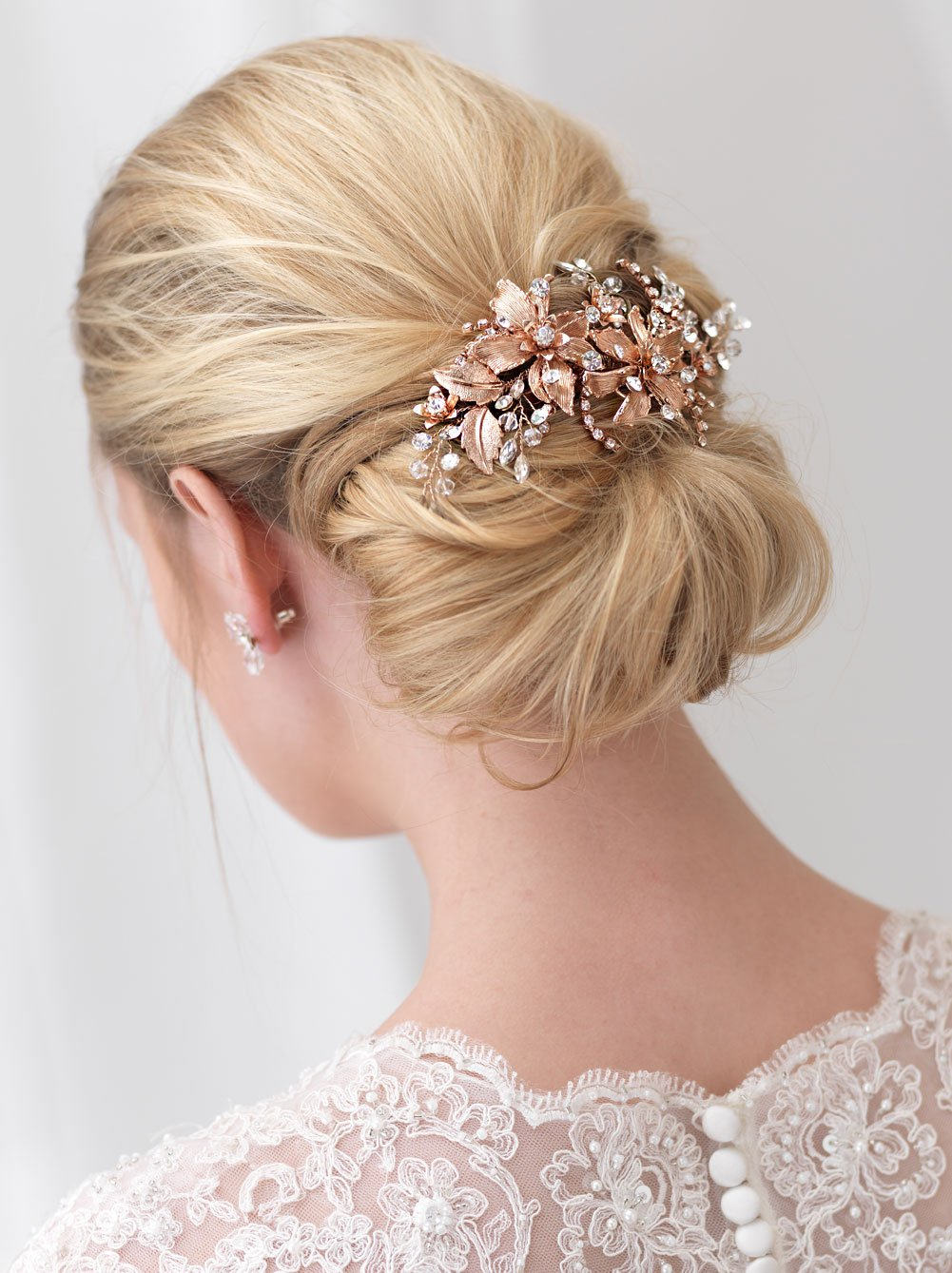 USABride Bridal Comb Rose Gold-Plated Floral Wedding Headpiece Rhinestones Crystals Hair Clip TC-2288-RG (Rose Gold)