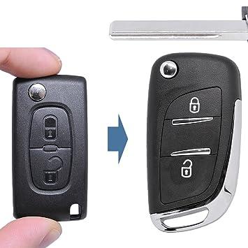 – Llave umbau Carcasa Mando a distancia nuevo diseño 2 botones Hu83 en blanco para Citroen/Peugeot/Fiat