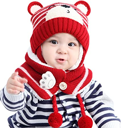 Baby Boys Girls Kids Winter Warm Hats Scarf And Cap Set Earflap Beanie Gift