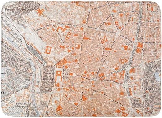 Kinhevao Alfombra de baño 1920 España Madrid Mapa Ciudad Alfombra de baño del río español español Decoración: Amazon.es: Hogar