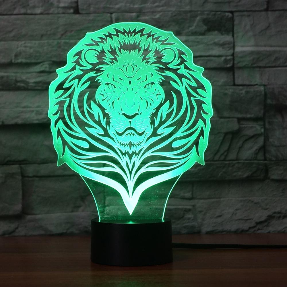 3D Lion Animal Night Light Touch Table Desk Optical Illusion Lamps 7 Color Changing Lights Home Decoration Xmas Birthday Gift