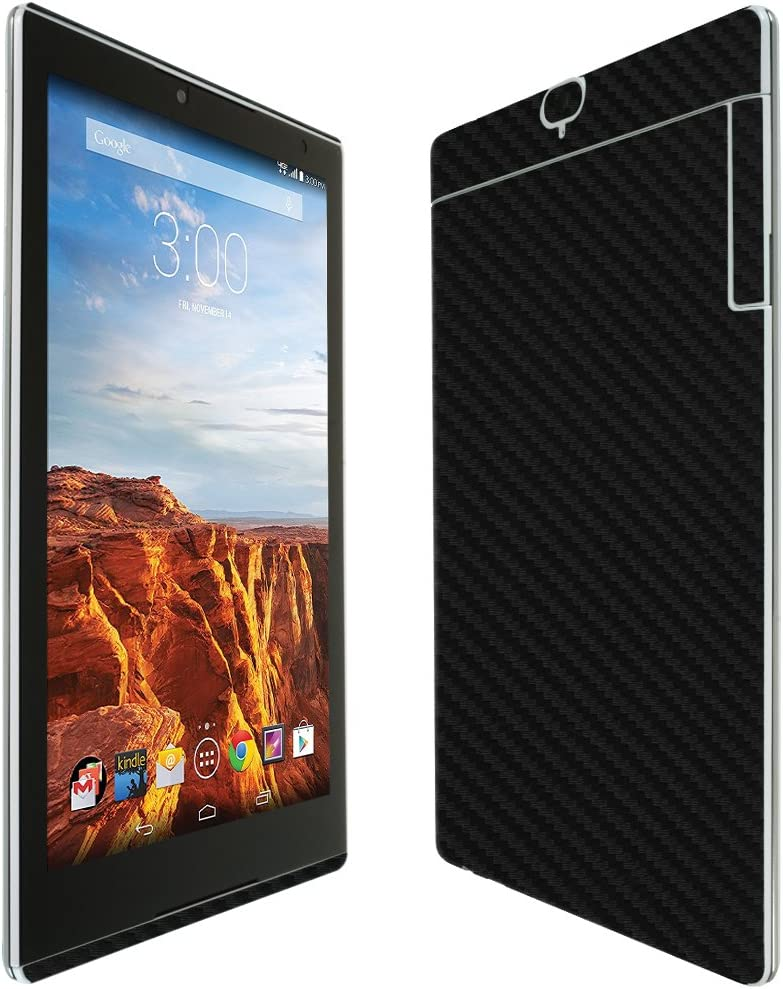 Skinomi Carbon Fiber Black Skin+Clear Screen Protector for Verizon Ellipsis 8
